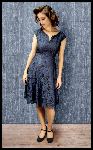 Nancy Mac's vintage style 1950s Janie dress in blue flower lace