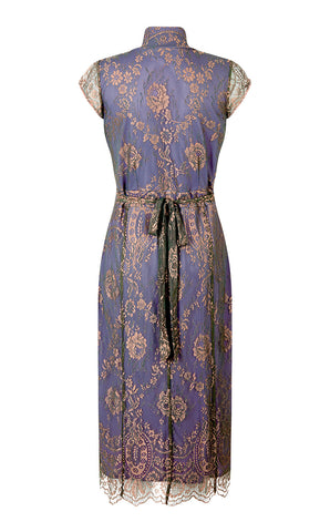 Jasmine dress in bronze and sugar violet lace