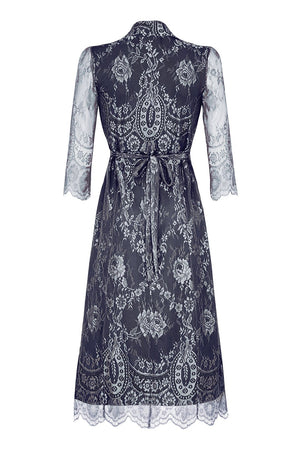 Nancy Mac's Jasmine dress in silver blue lace - mannequin back