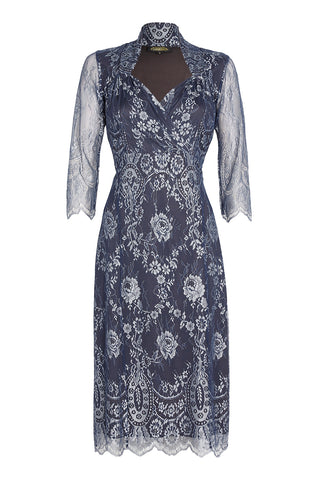 Nancy Mac's Jasmine dress in silver blue lace - mannequin