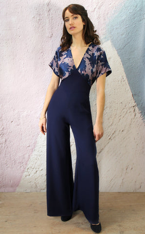 Jumpsuit in shaded botanical brocade