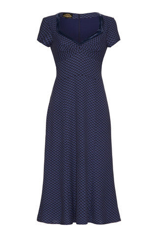 Katrina Dress in Wedgwood Blue Print Crepe