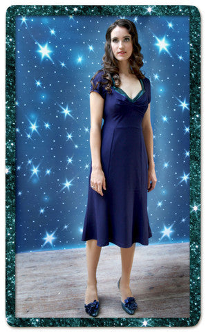 Katrina Dress in Deep Blue Crepe