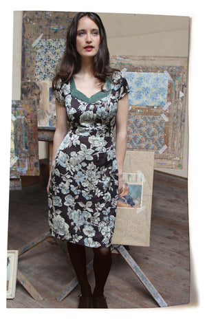 Kelly dress in chocolate Sketch Rose print - location shot