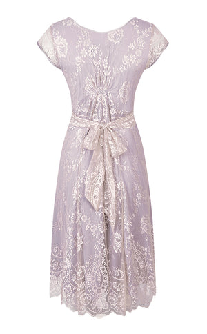 Kristen dress in platinum and tea rose lace