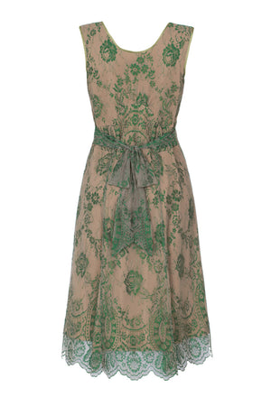 Kristen dress in Montecarlo green lace