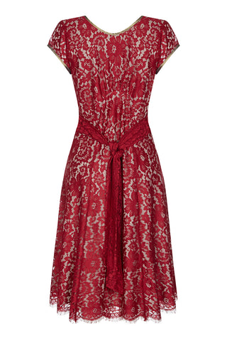 Kristen dress in ruby lace - mannequin back
