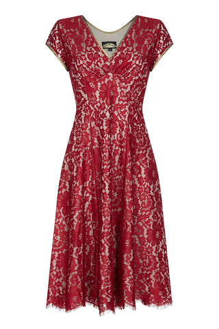 Kristen dress in ruby lace - mannequin front