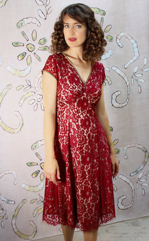 Kristen dress in ruby lace - model shot