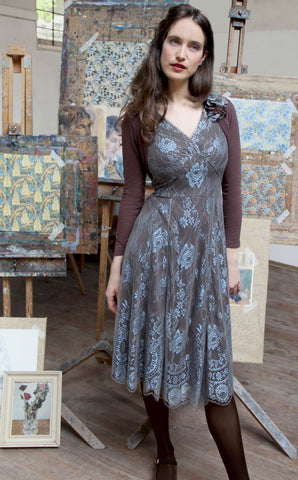 Kristen dress in Winter Blue lace - full length location shot with Belle shrug