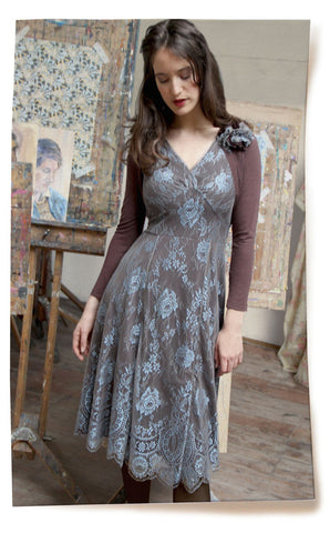 Kristen dress in Winter Blue lace - location shot with Belle shrug