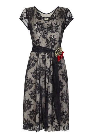Kristen corsage dress in black lace - front mannequin shot