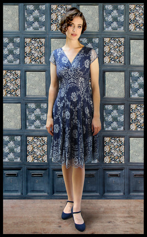 Nancy Mac midi dress in silver blue lace - perfect wedding guest outfit