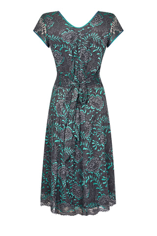 Kristen dress in teal and gunmetal Baroque lace - back mannequin shot
