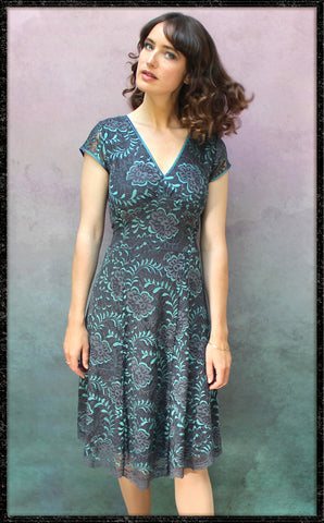 Kristen dress in teal and gunmetal Baroque lace - framed model shot