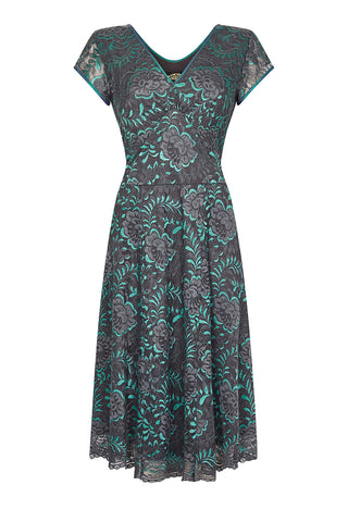 Kristen dress in teal and gunmetal Baroque lace - front mannequin shot