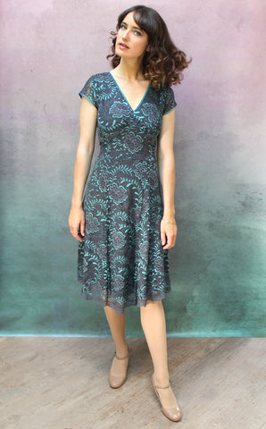 Kristen dress in teal and gunmetal Baroque lace - front model shot