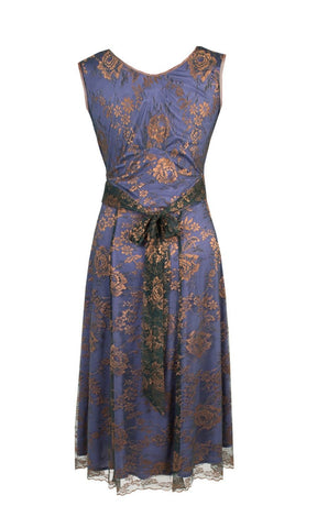 Kristen dress in bronze and sugar violet lace - cutout back