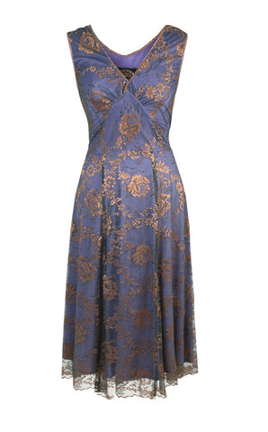 Kristen dress in bronze and sugar violet lace - cutout front