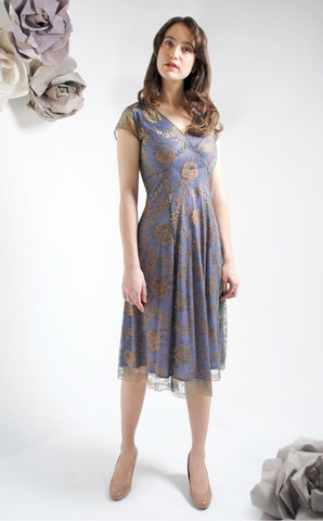 Kristen dress in bronze and sugar violet lace - studio shot