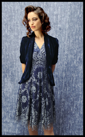 Nancy Mac midi dress in silver blue lace - perfect wedding guest outfit - with midnight blue jacket