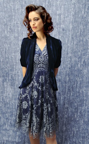 Nancy Mac's Lilliana - a vintage 1940s style tea jacket in midnight blue silk velvet - with Kristen dress