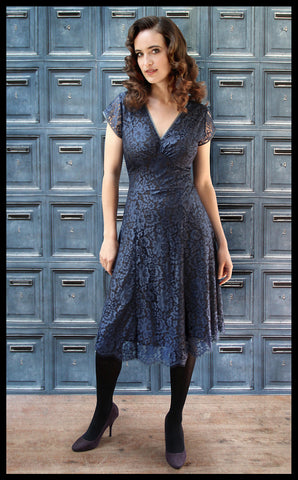 Nancy Mac Kristen midi dress in starlight blue flower lace