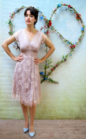 Nancy Mac Kristen special occasion dress in two-tone platinum and tea rose lace