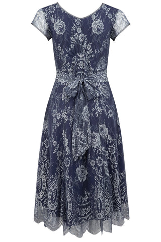 Nancy Mac midi dress in silver blue lace - perfect wedding guest outfit - mannequin back