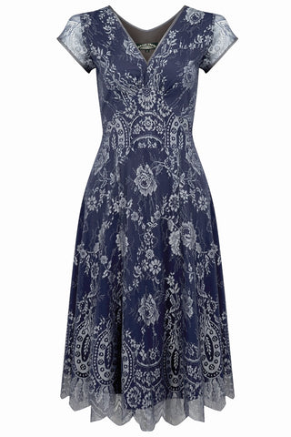 Nancy Mac midi dress in silver blue lace - perfect wedding guest outfit - mannequin