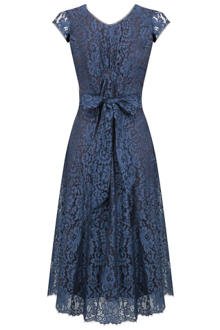 Nancy Mac Kristen midi dress in starlight blue flower lace - mannequin back