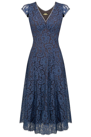 Nancy Mac Kristen midi dress in starlight blue flower lace - mannequin