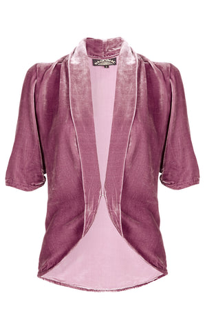 Nancy Mac Lilliana 1940s-style tea jacket in sweet pea silk velvet with 3/4-length sleeve