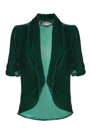 Lilliana Tea Jacket in Peacock Silk Velvet