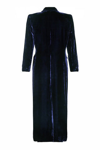 Nancy Mac vintage style coat in midnight blue velvet perfect for Winter weddings - mannequin back