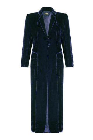 Nancy Mac vintage style coat in midnight blue velvet perfect for Winter weddings - mannequin front