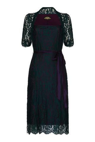 Leila Dress in Emerald and Blackcurrant Lace