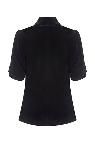 Lilliana jacket in jet black silk velvet - back mannequin