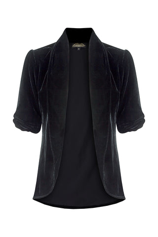 Lilliana jacket in jet black silk velvet - front mannequin