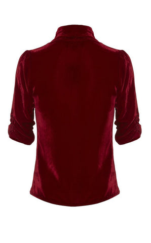 Lilliana jacket in deep red silk velvet - back mannequin