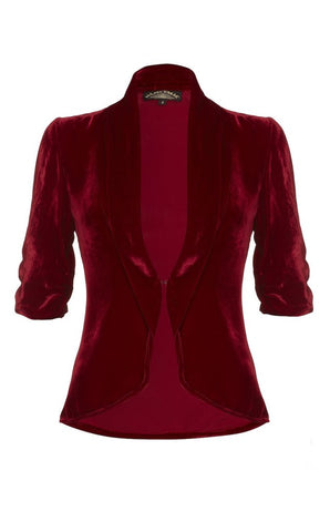 Lilliana jacket in deep red silk velvet - front mannequin