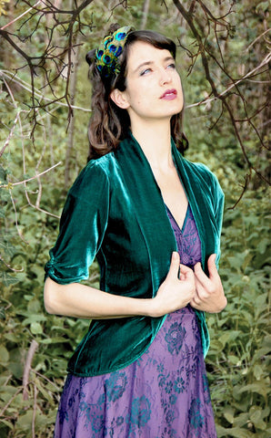 Lilliana jacket in peacock silk velvet