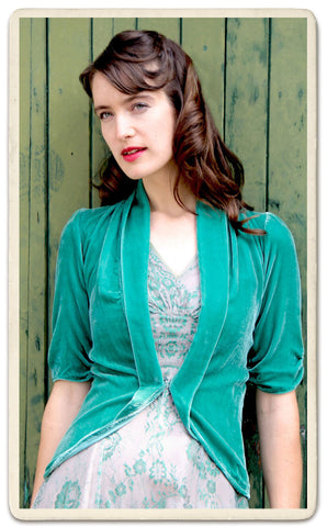 Lilliana jacket in jade silk velvet - studio shot