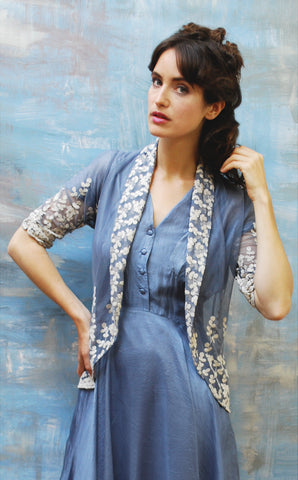 Nancy Mac's Lilliana jacket in Periwinkle blue