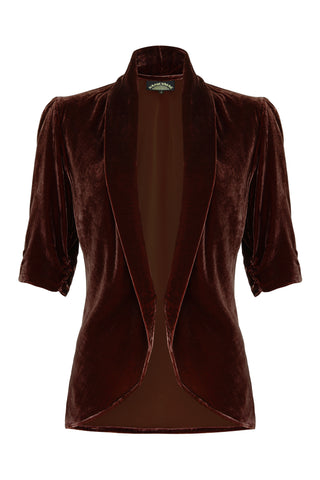 Lilliana jacket in chocolate silk velvet - front mannequin shot