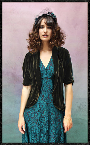 Lilliana jacket in chocolate silk velvet - front model shot framed