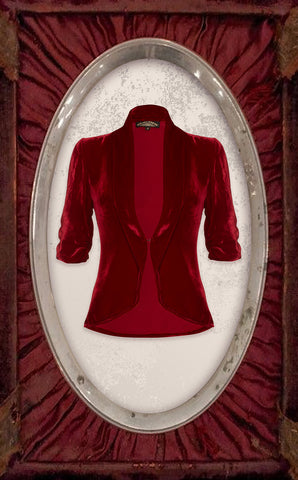 Lilliana jacket in deep red silk velvet - cutout