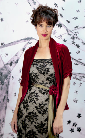 Lilliana jacket in deep red silk velvet - model shot