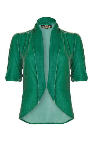 Lilliana jacket in jade silk velvet