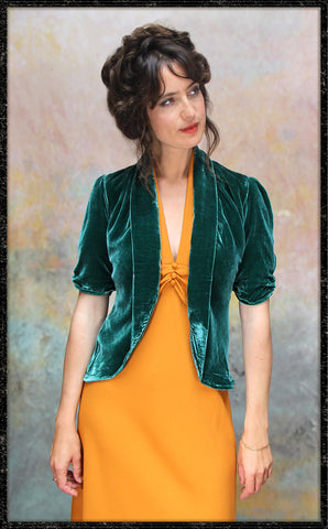 Lilliana jacket in peacock silk velvet - front model shot